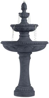 "Pineapple 44"" High Grey Stone 3-Tier Outdoor Fountain (1G437)"
