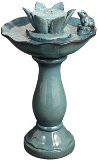 "Pleasant Pond Frog-Lotus 25 1/4"" Outdoor Pedestal Fountain (1G453)"