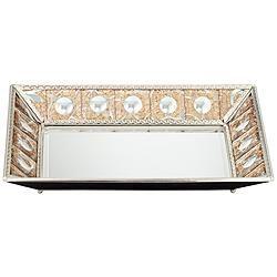 "Trish 14"" Silver Crackled Bronze Decorative Mirrored Tray"