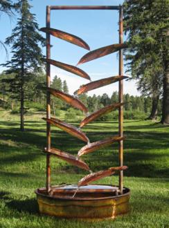 Trellis 72' High Sculptural Copper Outdoor Fountain (1K621)
