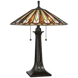 Quoizel Lance Tiffany Style Art Glass Bronze Table Lamp