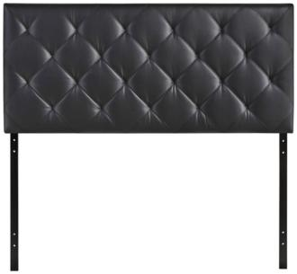 Theodore Black Faux Leather Tufted Twin Fabric Headboard (1Y441)