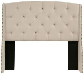 Peyton Tufted Ivory Fabric Wing King Headboard (1Y652)