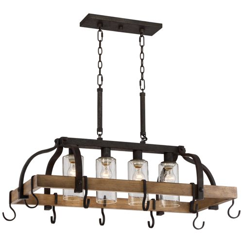 "Eldrige 36 1/2"" Wide 4-Light Bronze Pot Rack Chandelier"