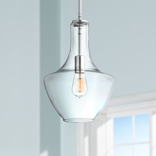 "Kichler Everly 10 1/2""W Chrome and Clear Glass Mini Pendant"
