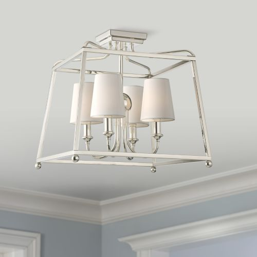 "Sylvan 16"" Wide Nickel Open Cage Ceiling Light"