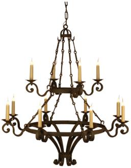 "Laura Lee Dolce 48""W Salmon Rust 2-Tier 14-Light Chandelier (21F30)"