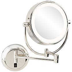 Neomodern Polished Nickel LED Wall Makeup Mirror