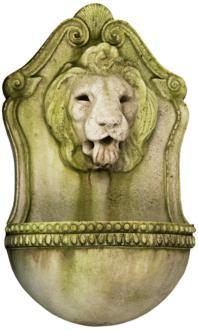 "Aged Lion 23 1/2"" High White Moss Outdoor Wall Fountain (22V10)"