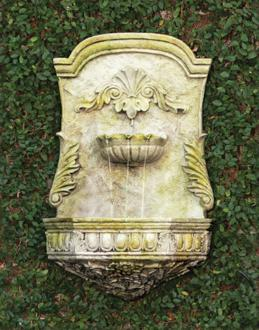 "Scroll 28 1/2"" High White Moss Outdoor Wall Fountain (22V13)"