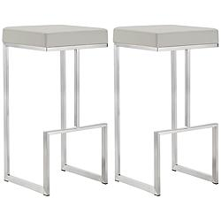 "Ferrara 29 1/2"" Light Gray and Steel Barstool Set of 2"