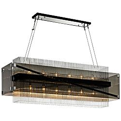 "Apollo 49 3/4""W Bronze and Chrome 12-Light Island Chandelier"