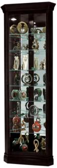 Howard Miller Duane Black Satin 1-Door Corner Curio Cabinet (24A75)