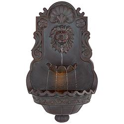 "Lion Head 31 1/2"" High Indoor Outdoor Bronze Wall Fountain"