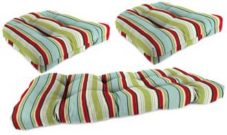 set of 3 kiwi red and blue outdoor wicker seat cushions (2d767)