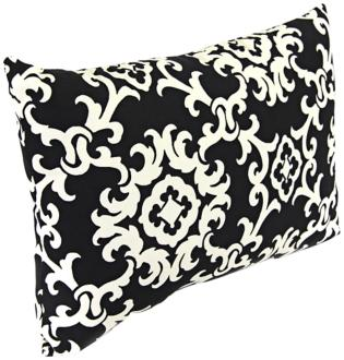 "black and white 18"" various edge outdoor accent pillow (2d911)"