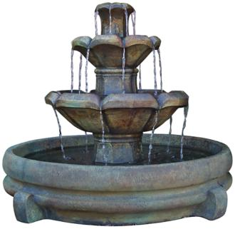 "Montreux Three-Tier Cast Stone 32"" High Fountain (2H111)"