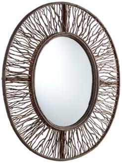 "rossi 34"" high wood branch oval wall mirror (2k321)"