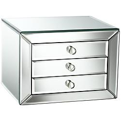 Mirrored Glass 3-Drawer Jewelry Box