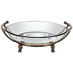 "Blaise 17"" Wide Bronze Stand with Clear Glass Bowl"