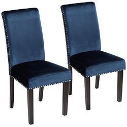 Scarpa Blue Armless Dining Chairs Set of 2