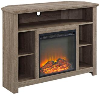 Essential Gray Driftwood Corner Fireplace TV Stand (31C27)