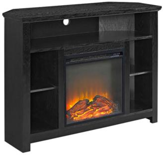 Essential Black Wood Corner Fireplace TV Stand (31C28)