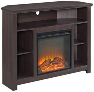 Essential Espresso Wood Corner Fireplace TV Stand (31C29)