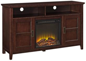 Rustic Chic Coffee Wood 2-Door Fireplace TV Stand (31C34)