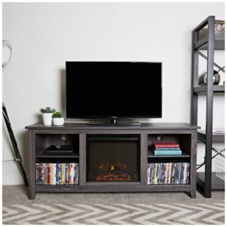 Everett Charcoal Gray Wood Fireplace TV Stand (31C37)