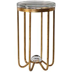 "Allura 14"" Wide Antiqued Gold Leaf Metal Accent Table"