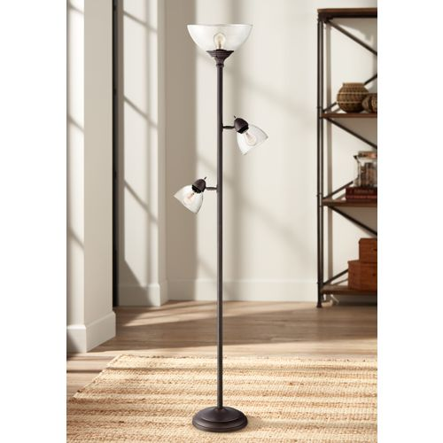 Riley Bronze 3-Light Tree Torchiere Floor Lamp