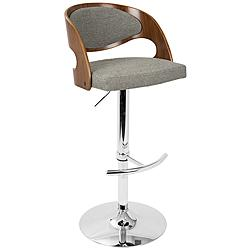 Pino Gray Fabric and Walnut Adjustable Swivel Bar Stool