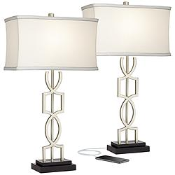 Evan Modern Metal USB Table Lamps Set of 2