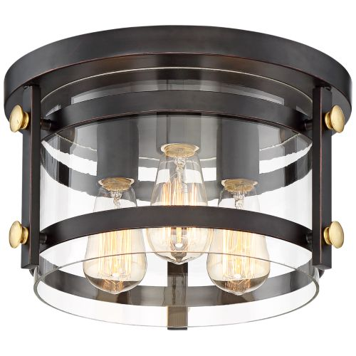 "Eagleton 13 1/2"" Wide Oil-Rubbed Bronze LED Ceiling Light"