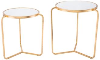 Zuo Tasha Mirrored Top Gold 2-Piece Tripod Accent Table Set (36D40) 36D40