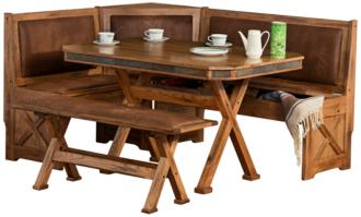 Sedona Rustic Oak 4-Piece X-Shaped Breakfast Nook Set (38M94)