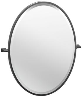 "Bleu Matte Black 23 1/2"" x 27 1/2"" Framed Oval Wall Mirror (39W51) 39W51"
