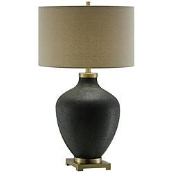 Crestview Collection Liam Black Pitted Glass Table Lamp