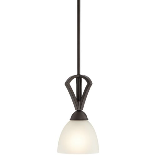"Possini Euro Milbury 6"" Wide Bronze White Glass Mini Pendant"