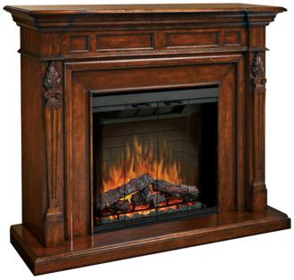 Torchiere Burnished Walnut Electric Fireplace Mantel (3M401)