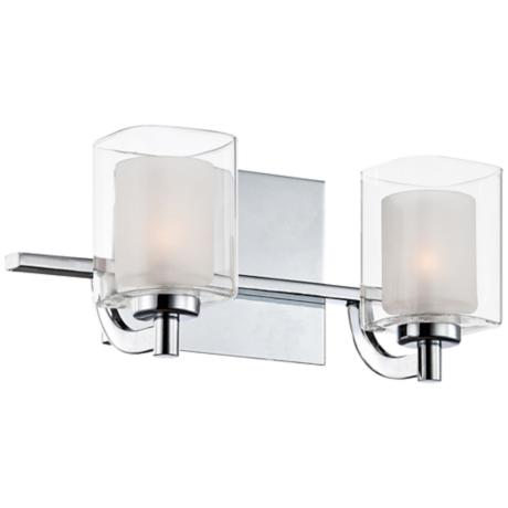 how to light a bathroom quoizel kolt led 13 quot wide chrome and glass bathroom light 23438