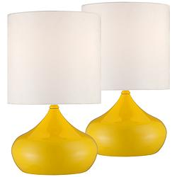 "Droplet 14 3/4""H Canary Yellow Modern Accent Lamps Set of 2"