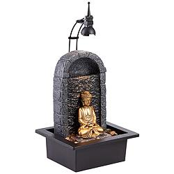 "Peace 17"" Stone and Gold Buddha Table Fountain with Light"