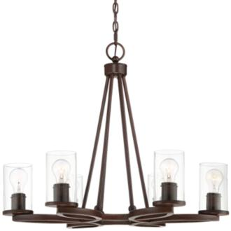 "Fairport 28"" Wide Bronze 6-Light Chandelier (40W91)"