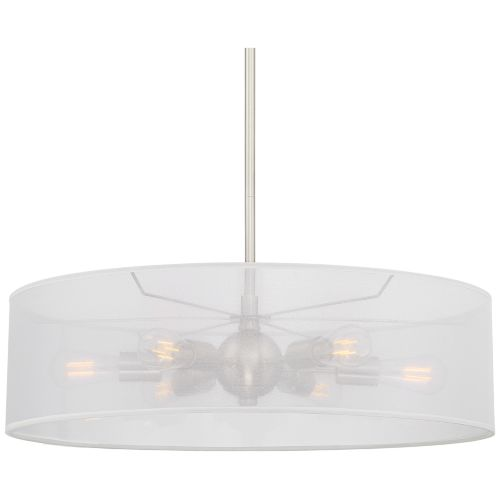 "Favreau 27""W Brushed Nickel 6-Light LED Drum Shade Pendant"