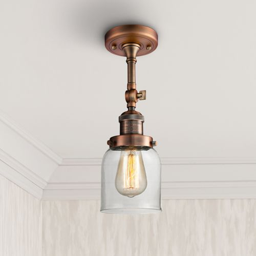 "Small Bell 5"" Wide Antique Copper Adjustable Ceiling Light"