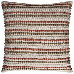"Ivory and Rust Stripe Textured 20"" Square Decorative Pillow"