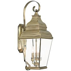 "Exeter 28"" High Antique Brass 3-Light Outdoor Wall Light"