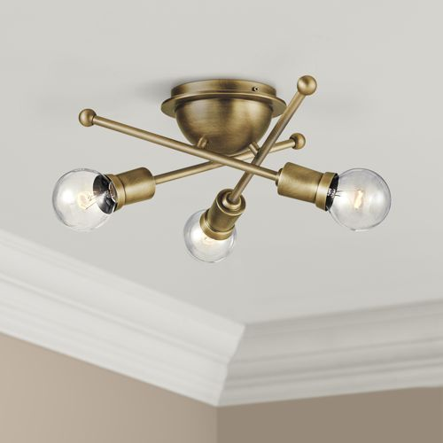 "Kichler Armstrong 15""W Natural Brass 3-Light Ceiling Light"